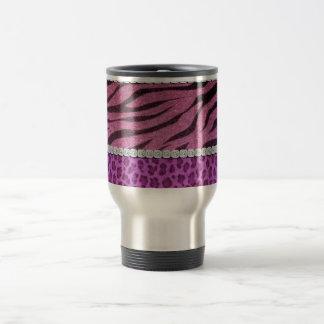 Cute Girly Purple Animal Print Diamond Travel Mug