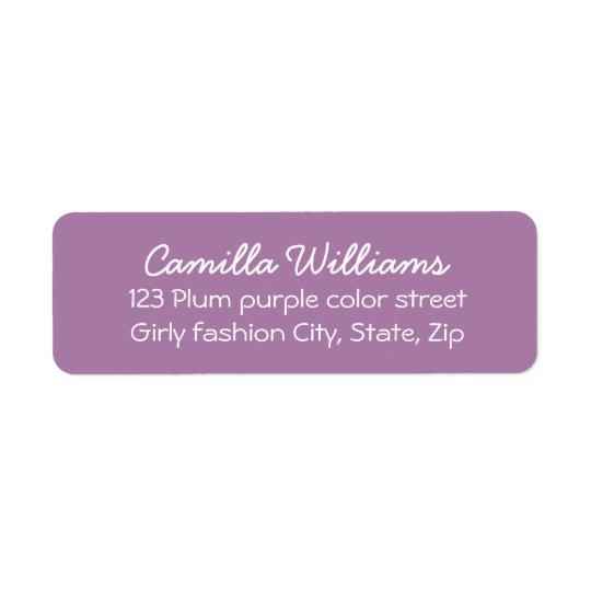 Cute, girly purple return address return address label