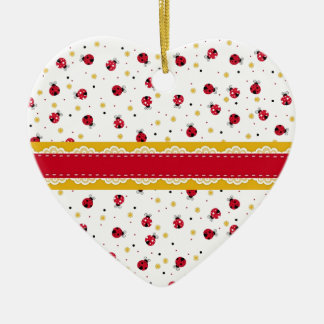 Cute girly red white black ladybugs dots christmas ornament
