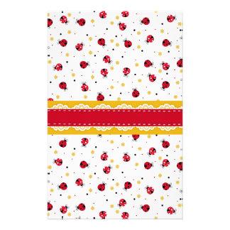 Cute girly red white black ladybugs dots stationery