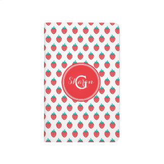 Cute girly red white strawberry patterns monogram journal