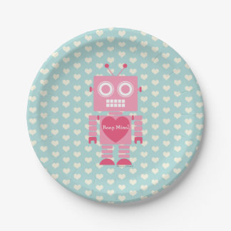 Cute Girly Robot Paper Plate
