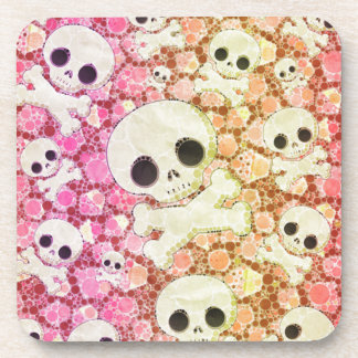 Cute Girly Skull Pattern Beverage Coaster