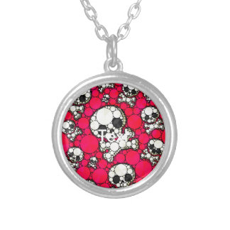 Cute Girly Skull Pattern Round Pendant Necklace