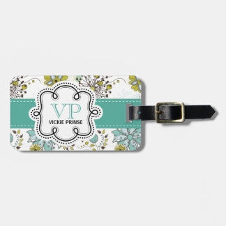 Cute Girly Spring Floral Personalized Initials Luggage Tag
