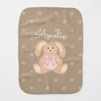 Cute Girly Sweet Adorable Baby Bunny Rabbit Girls Baby Burp Cloth