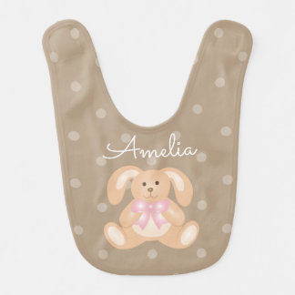 Cute Girly Sweet Adorable Baby Bunny Rabbit Girls Bib