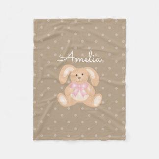 Cute Girly Sweet Adorable Baby Bunny Rabbit Kids Fleece Blanket
