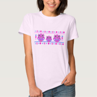 Cute girly t-shirt with Owls, hearts and Polka dot