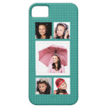Cute Girly Teal 5 Photo Collage iPhone 5 Cases