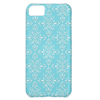 Cute Girly Teal Blue Damask iPhone 5C Case