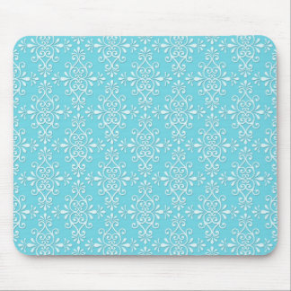 Cute Girly Teal Blue Damask Mouse Pad