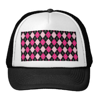 Cute girly trendy Argyle pattern hot and soft pink Cap