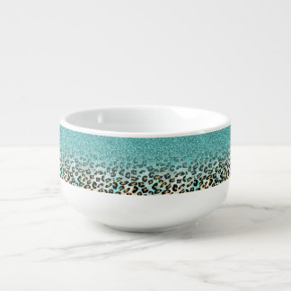 Cute girly trendy light blue faux glitter leopard soup mug