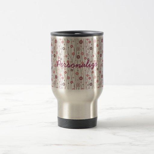Cute girly trendy vintage floral pattern mugs