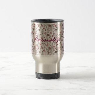 Cute girly trendy vintage floral pattern stainless steel travel mug