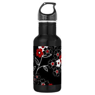 Cute girly trendy vintage hand drawn flowers 532 ml water bottle