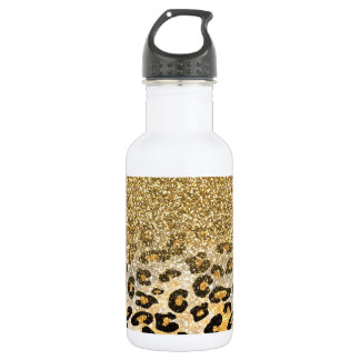 Cute girly trendy yellow gold faux glitter leopard 532 ml water bottle