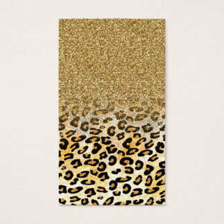 Cute girly trendy yellow gold faux glitter leopard business card