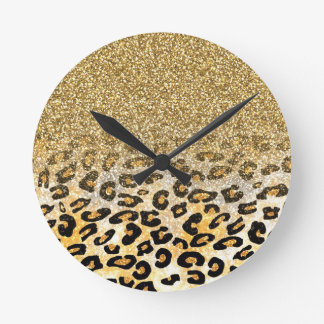 Cute girly trendy yellow gold faux glitter leopard clocks