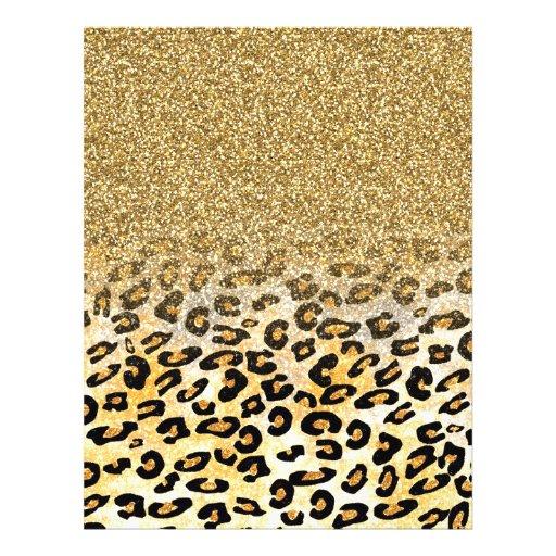 Cute girly trendy yellow gold faux glitter leopard flyers