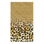 Cute girly trendy yellow gold faux glitter leopard pack of standard business cards