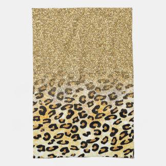 Cute girly trendy yellow gold faux glitter leopard tea towel