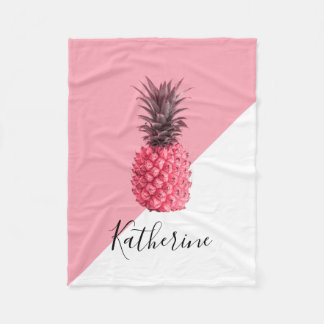 Cute girly tropical pink and white pineapple fleece blanket