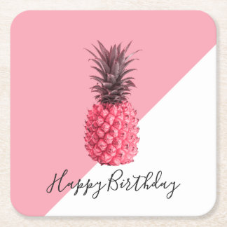 Cute girly tropical pink and white pineapple square paper coaster