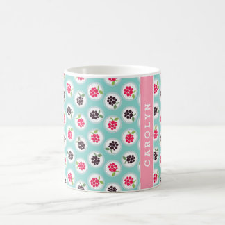 Cute girly turquoise raspberry patterns monogram coffee mug