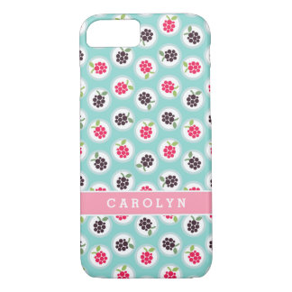 Cute girly turquoise raspberry patterns monogram iPhone 7 case