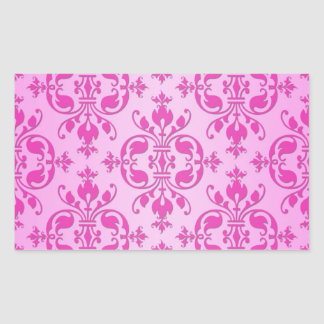 Cute Girly Two Tone Pink Damask Rectangular Sticker