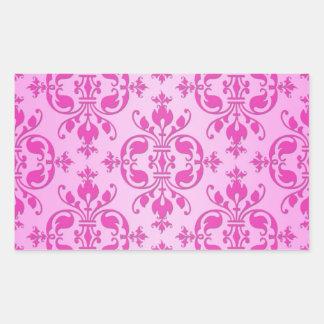 Cute Girly Two Tone Pink Damask Rectangular Sticker