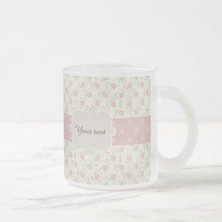 Cute,girly,vintage,rustic,flora,polka dot,pink,fun frosted glass mug