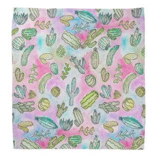 Cute Girly Watercolor Paint Summer Cactus Pattern Bandana