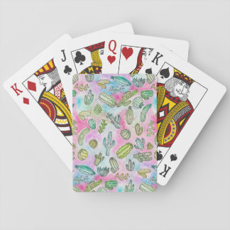 Cute Girly Watercolor Paint Summer Cactus Pattern Playing Cards
