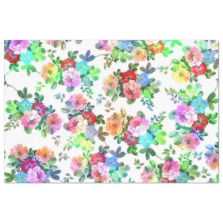 Cute girly watercolors paint roses floral blossom tissue paper
