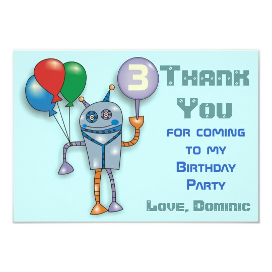 Cute Glossy Robot Personalised Thank You Cards