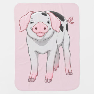 Cute Gloucestershire Old Spots Pig Baby Blanket
