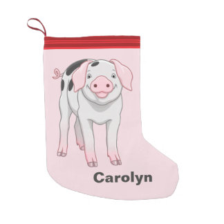 Cute Gloucestershire Old Spots Pig Small Christmas Stocking