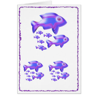 Cute Glowing Fish Family Greeting Card
