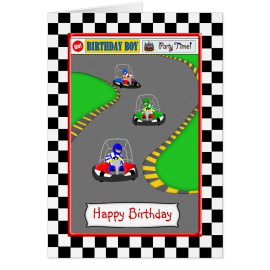 Cute Go Kart Race Track Birthday Card for