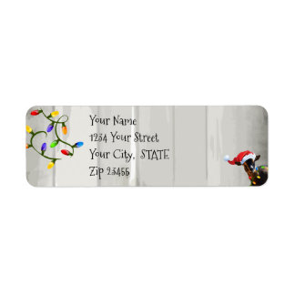 Cute  Goat and Christmas Lights Return Address Label