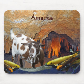 Cute Goat and Goldfish in a Cave Mousepads