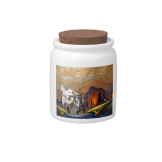 Cute Goat and Goldfish in a Glowing Cave Candy Jar