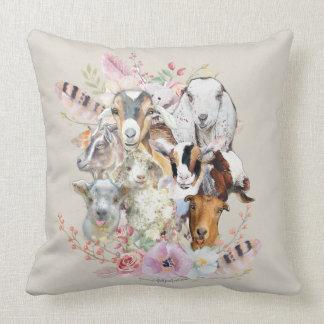 Cute GOATs | Watercolor Goat Portraits GetYerGoat™ Cushion