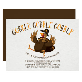 Cute Gobble Gobble Turkey Thanksgiving Invitation