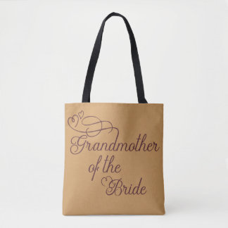 Cute Gold Burgundy Grandmother of the Bride Tote Bag