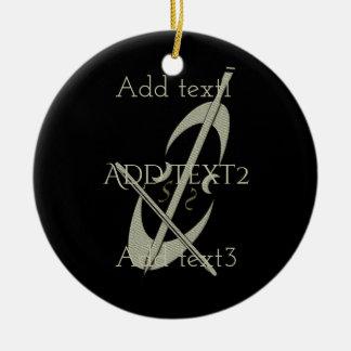Cute Gold Cello Music Fan Christmas Ornament
