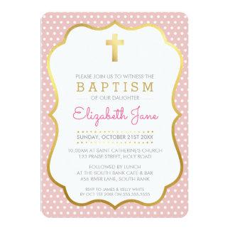 CUTE GOLD CROSS pretty baptism fancy polkadot pink Card